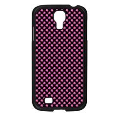 Small Hot Pink Irish Shamrock Clover On Black Samsung Galaxy S4 I9500/ I9505 Case (black) by PodArtist