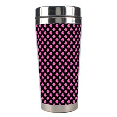 Small Hot Pink Irish Shamrock Clover On Black Stainless Steel Travel Tumblers by PodArtist