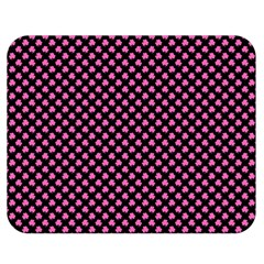 Small Hot Pink Irish Shamrock Clover On Black Double Sided Flano Blanket (medium)  by PodArtist