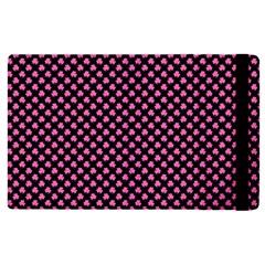 Small Hot Pink Irish Shamrock Clover On Black Apple Ipad Pro 12 9   Flip Case by PodArtist