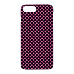 Small Hot Pink Irish Shamrock Clover On Black Apple Iphone 7 Plus Hardshell Case by PodArtist