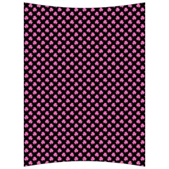 Small Hot Pink Irish Shamrock Clover On Black Back Support Cushion by PodArtist