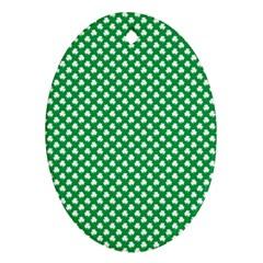 White Shamrocks On Green St  Patrick s Day Ireland Ornament (oval) by PodArtist