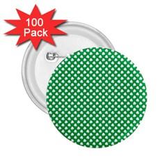 White Shamrocks On Green St  Patrick s Day Ireland 2 25  Buttons (100 Pack)  by PodArtist