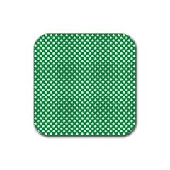 White Shamrocks On Green St  Patrick s Day Ireland Rubber Coaster (square)  by PodArtist