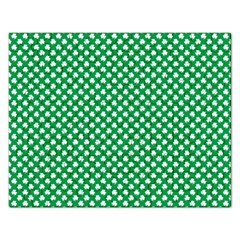 White Shamrocks On Green St  Patrick s Day Ireland Rectangular Jigsaw Puzzl by PodArtist