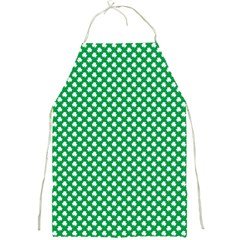 White Shamrocks On Green St  Patrick s Day Ireland Full Print Aprons by PodArtist