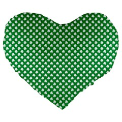 White Shamrocks On Green St  Patrick s Day Ireland Large 19  Premium Heart Shape Cushions by PodArtist