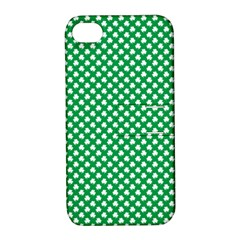 White Shamrocks On Green St  Patrick s Day Ireland Apple Iphone 4/4s Hardshell Case With Stand by PodArtist