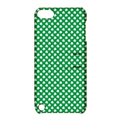 White Shamrocks On Green St  Patrick s Day Ireland Apple Ipod Touch 5 Hardshell Case With Stand by PodArtist