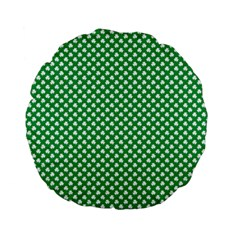 White Shamrocks On Green St  Patrick s Day Ireland Standard 15  Premium Flano Round Cushions by PodArtist