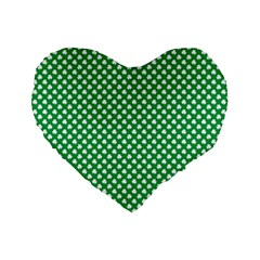 White Shamrocks On Green St  Patrick s Day Ireland Standard 16  Premium Flano Heart Shape Cushions by PodArtist