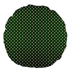 Irish Flag Green White Orange On Green St  Patrick s Day Ireland Large 18  Premium Flano Round Cushions by PodArtist