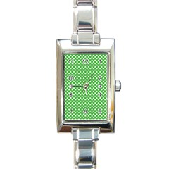 White Heart Shaped Clover On Green St  Patrick s Day Rectangle Italian Charm Watch by PodArtist