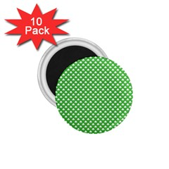 White Heart Shaped Clover On Green St  Patrick s Day 1 75  Magnets (10 Pack)  by PodArtist