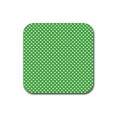 White Heart Shaped Clover On Green St  Patrick s Day Rubber Square Coaster (4 Pack)  by PodArtist