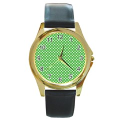 White Heart Shaped Clover On Green St  Patrick s Day Round Gold Metal Watch by PodArtist