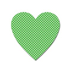 White Heart Shaped Clover On Green St  Patrick s Day Heart Magnet by PodArtist