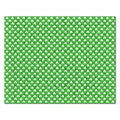 White Heart Shaped Clover On Green St  Patrick s Day Rectangular Jigsaw Puzzl by PodArtist