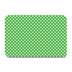 White Heart Shaped Clover On Green St  Patrick s Day Plate Mats by PodArtist