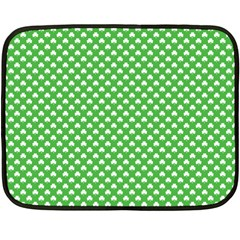 White Heart Shaped Clover On Green St  Patrick s Day Double Sided Fleece Blanket (mini)  by PodArtist