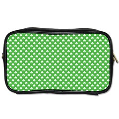 White Heart Shaped Clover On Green St  Patrick s Day Toiletries Bags 2 Side by PodArtist