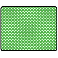 White Heart Shaped Clover On Green St  Patrick s Day Fleece Blanket (medium)  by PodArtist