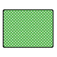 White Heart Shaped Clover On Green St  Patrick s Day Fleece Blanket (small)
