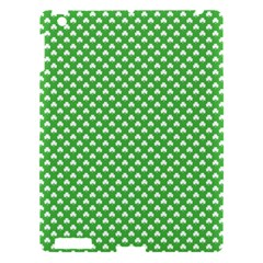 White Heart Shaped Clover On Green St  Patrick s Day Apple Ipad 3/4 Hardshell Case by PodArtist