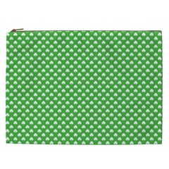 White Heart Shaped Clover On Green St  Patrick s Day Cosmetic Bag (xxl)  by PodArtist