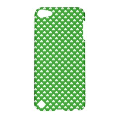 White Heart Shaped Clover On Green St  Patrick s Day Apple Ipod Touch 5 Hardshell Case by PodArtist
