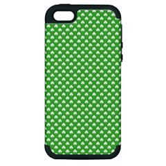 White Heart Shaped Clover On Green St  Patrick s Day Apple Iphone 5 Hardshell Case (pc+silicone) by PodArtist