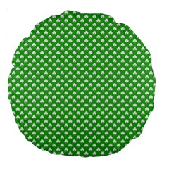 White Heart Shaped Clover On Green St  Patrick s Day Large 18  Premium Round Cushions by PodArtist