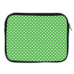 White Heart Shaped Clover On Green St  Patrick s Day Apple Ipad 2/3/4 Zipper Cases by PodArtist