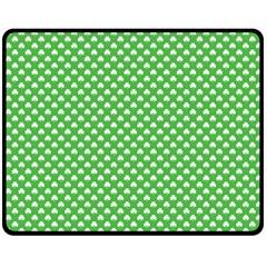 White Heart Shaped Clover On Green St  Patrick s Day Double Sided Fleece Blanket (medium)  by PodArtist