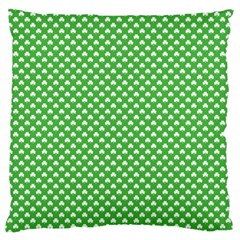White Heart Shaped Clover On Green St  Patrick s Day Large Flano Cushion Case (two Sides) by PodArtist