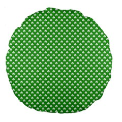 White Heart Shaped Clover On Green St  Patrick s Day Large 18  Premium Flano Round Cushions by PodArtist