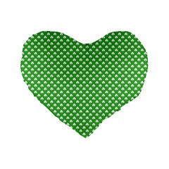 White Heart Shaped Clover On Green St  Patrick s Day Standard 16  Premium Flano Heart Shape Cushions by PodArtist