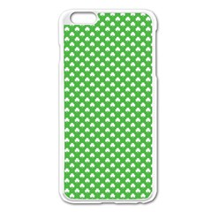 White Heart Shaped Clover On Green St  Patrick s Day Apple Iphone 6 Plus/6s Plus Enamel White Case by PodArtist