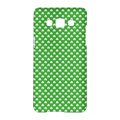 White Heart Shaped Clover On Green St  Patrick s Day Samsung Galaxy A5 Hardshell Case  by PodArtist