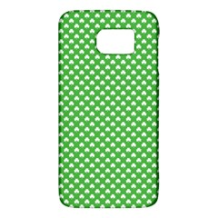 White Heart Shaped Clover On Green St  Patrick s Day Galaxy S6 by PodArtist