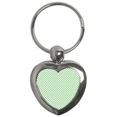 Green Heart Shaped Clover On White St  Patrick s Day Key Chains (heart)  by PodArtist