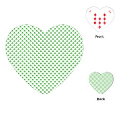 Green Heart Shaped Clover On White St  Patrick s Day Playing Cards (heart)  by PodArtist