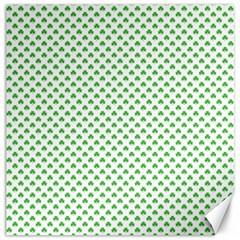 Green Heart Shaped Clover On White St  Patrick s Day Canvas 12  X 12   by PodArtist