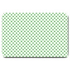 Green Heart Shaped Clover On White St  Patrick s Day Large Doormat  by PodArtist