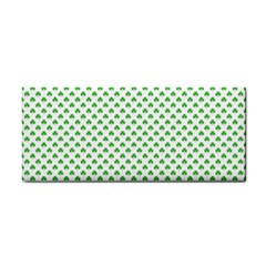 Green Heart Shaped Clover On White St  Patrick s Day Cosmetic Storage Cases by PodArtist