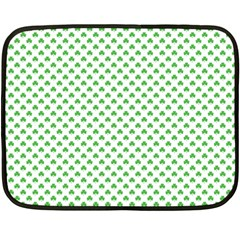 Green Heart Shaped Clover On White St  Patrick s Day Fleece Blanket (mini) by PodArtist