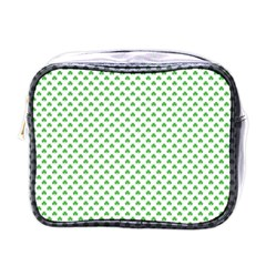 Green Heart Shaped Clover On White St  Patrick s Day Mini Toiletries Bags by PodArtist