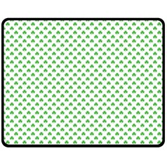 Green Heart Shaped Clover On White St  Patrick s Day Fleece Blanket (medium)  by PodArtist