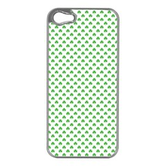 Green Heart Shaped Clover On White St  Patrick s Day Apple Iphone 5 Case (silver) by PodArtist